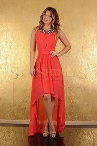 Tinute pentru nunta dama Favorite Color, High Low, Coral, Beads, Dresses, Fashion, Beading, Vestidos, Moda