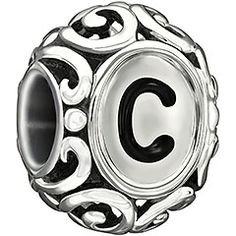 Initially Speaking C is beautifully inspired with an elegant filigree design in sterling silver with black enamel letter detail. Be creative...