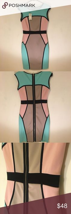 Small Arden B Bodycon pastel colors mini dress Never worn, tags still on. The material is stretchy. It fits very tight I weigh about 135 and I'm 5'4 and it fits real tight.  The zipper goes all the way down to the bottom and opens the dress up completely. It has the tiniest little shoulder pads inside but barely noticeable. Probably just to give it some shape. In some lights I see a slight color discoloration on the right shoulder ( if you're looking straight on) almost like it had gotten…