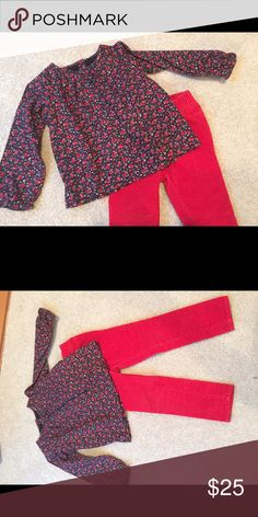 GAP fall outfit Perfect condition- cotton floral poplin top. Lined. Narrow wale red cord skinny jeans. Darling with a pair of black Mary Janes! GAP Shirts & Tops Blouses