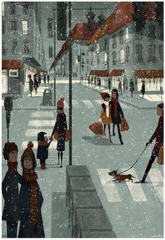 Art and illustration : Art and illustration Art And Illustration, Photo Images, Animation, Winter Art, Winter Snow, Belle Photo, Dachshund, Illustrators, Concept Art