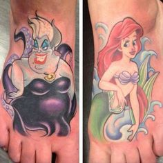 The little mermaid foot tattoo. Ursula and Ariel from Disney.