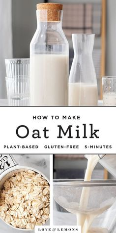 Learn how to make oat milk at home This easy oat milk recipe yields creamy smooth oat milk every time It s perfect for adding to coffee baking recipes granola and more Love and Lemons howto vegan plantbased recipe oats Whole Foods, Whole Food Recipes, Vegan Recipes, Flour Recipes, Hot Tea Recipes, Oats Recipes, Recipies, Almond Milk Recipes, Frosting Recipes