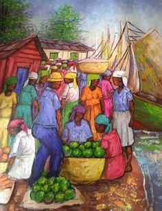 Haitian Art Caribbean Culture, Caribbean Art, Painting Of Girl, Large Painting, African American Art, African Art, Haitian Art, Canvas Art, Canvas Paintings