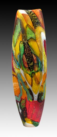 Vase - designed by Noel Hart - blown glass - red, yellow, green - art Blown Glass Art, Art Of Glass, Glass Artwork, Glass Rocks, Glass Ceramic, Mosaic Glass, Fused Glass, Stained Glass, Glass Bottles
