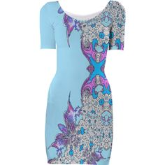 Baby Blue White Abstract Feathery Bodycon Dress from Print All Over Me