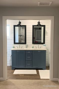 From coastal to shabby chic, our new Smoky Blue finish adapts to any style! This homeowner achieved a farmhouse modern feel with #shiplap and black accessories.