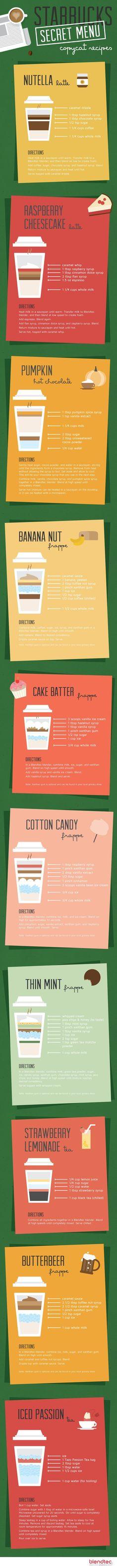 #Starbucks Secret Menu Copy Cat Recipes - make your own Starbucks at home & save!  #coffee #recipes