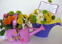 Free May Day Gift Tags, cute idea using a plastic watering can . .