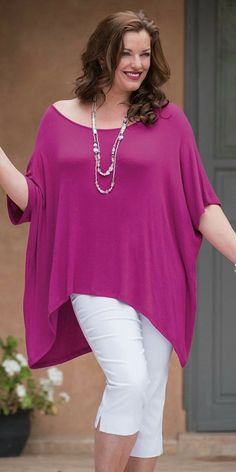Plus size Join Clothes fuchsia knitted top Big Size Fashion, Plus Size Fashion For Women, Curvy Fashion, Plus Size Women, Plus Fashion, Curvy Women Outfits, Spring Outfits Women, Clothes For Women, Plus Size Dresses