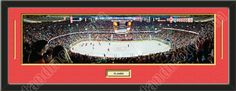 One framed large Calgary Flames stadium panoramic with a customizable nameplate*, double matted in team colors to 39 x 13.5 inches.  The lines show the bottom mat color.  $139.99 @ ArtandMore.com