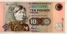 """Clydesdale Bank Ten Pound Note illustrating Mary Slessor (Front and Reverse)  Not strictly a """"commemorative"""" note in that it replaced the previous Clydesdale Bank ten pound note but it was the first time that a woman had appeared on the front of a Scottish bank note. Mary Slessor was born in Aberdeen in 1848. In 1876 she arrived in Nigeria as a missionary in unvisited parts of the country. She adopted many abandoned children, becoming known as """"Ma"""". She died in Calabar in 1915. The front of…"""