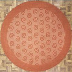 Handmade Circular Area Rug 4x4 in Terracotta with Circular Swirl Patterns area rug