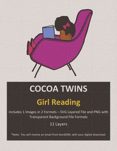 Girl Reading, Twin Girls, File Format, Svg Cuts, Black Girl Magic, School Supplies, Cocoa, Twins, Layers