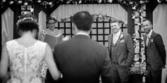The Groom gets his first look at his beautiful Bride in her wedding dress at their outdoor garden wedding. www.headoverheelsphotography.co.uk