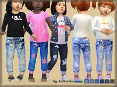 Jeans for girls are installed autonomously. 6 variants of coloring.  Found in TSR Category 'Sims 4 Toddler Female'