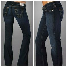 """True Religion Jeans First pic of model wearing this style of Jeans. Last 3 pics are of actual item/color. True Religion Jeans are made of 99% Cotton and 1% Elastic. Dark Wash. Waist 27. 5 Pocket design. Laying flat """"13.5. Length """"41. Inseam """"33. Rise """"7.5. This Item is In Good condition, Authentic and from a Smoke and Pet free Home. Offers through the offer button ONLY. I Will not negotiate the price in the comment section  Thank You True Religion Jeans"""