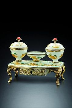 Inkstand. Silver gilt and enamel. The Pierre Fromery workshop, Berlin, circa 1740  Fromery was a French Huguenot Refugee who settled and worked in German  where he was extremely successful