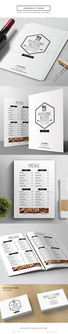 The dark ribbon design contrasts the white background letting it be a good use of a negative space title. Below are the dishes and lighter descriptions. The pattern of organization allows for the menu to be easily navigated. Food Menu Design, Pub Design, Layout Design, Design Cars, Restaurant Design, Restaurant Food, Food Menu Template, Menu Templates, Flyer Template