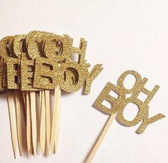 Oh Boy Gold Glitter Baby Shower Cupcake Toppers - http://babyshowercupcake-toppers.com/oh-boy-gold-glitter-baby-shower-cupcake-toppers/