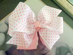 A personal favorite from my Etsy shop https://www.etsy.com/listing/227575514/baby-pink-and-white-double-boutique-bow