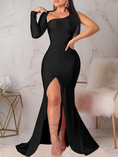 Floor-Length Split Long Sleeve Oblique Collar Pullover Womens Maxi Dress We Offer Top Good Quality Cheap Clothes For Women And Men Clothing Wholesaler, Get Affordable Clothing At Worldwide. Evening Dresses, Prom Dresses, Formal Dresses, Ladies Dresses, Stylish Dresses, Cheap Dresses, Wedding Dresses, Plain Dress, Trend Fashion