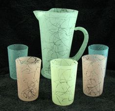 Vintage pastel glass pitcher and tumbler set.