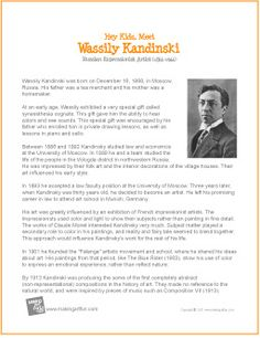 Wassily Kandinsky, Art Education Projects, School Art Projects, Art History Lessons, Art Lessons, Kadinsky Art, Kandinsky For Kids, Art Handouts, Art Worksheets