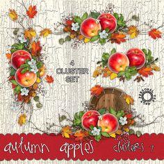 Autumn Apples Cluster Set 7 - Fall Autumn Digital Scrapbooking