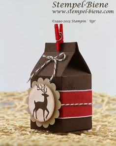 Ein Weihnachtlicher Bigz L Mini-Milchkarton - Stempel-Biene