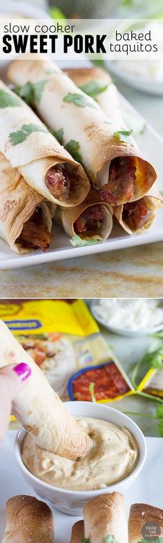 Pork gets slow cooked in a sweet and spicy sauce and then turned into an easy dinner with these Slow Cooker Sweet Pork Baked Taquitos.: