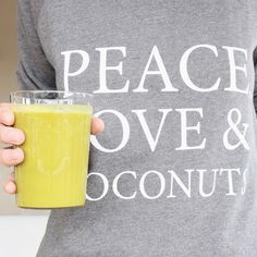 Another morning, another green smoothie! + big thanks to @deliciouslyella for this beautiful sweat. ❥ #peaceloveandcoconuts