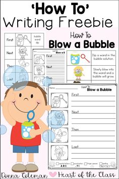 Free Spring Writing - How To Blow a Bubble! Writing Lessons, Writing Resources, Writing Skills, Writing Ideas, Writing Centers, Writing Promps, Kindergarten Writing Activities, Teaching Writing, Sequencing Activities
