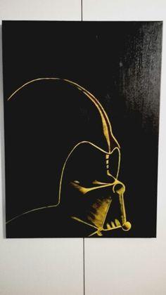 """""""Darth Vader"""" Acrilico su tela (cm 50x70) nero e giallo con rifiniture in Tratto Marker Nero"""