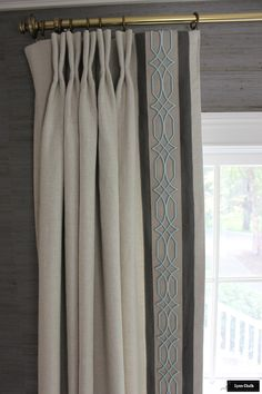 Custom Pleated Linen Drapes by Lynn Chalk with Border and Trim.