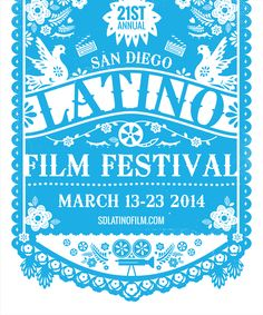 San Diego Latino Film Festival 2014 - Design by Kayla King Mexican Graphic Design, Graphic Design Letters, Mexican Designs, Lettering Design, Branding Design, Packaging Design, Latino Film Festival, Film Festival Poster, Festival Logo