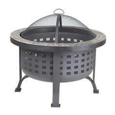 Fire Sense Alpina Round Outdoor Fire Pit, Black