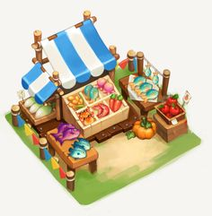 Graphics Game, Isometric Drawing, Farm Games, Casual Art, 2d Game Art, Cute Games, Game Background, Game Concept Art, Tropical Art