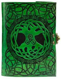 Green Tree of Life leather blank book w/ latch
