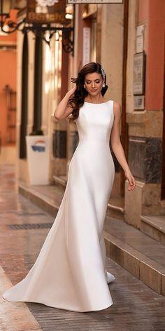 33 Cute Modest Wedding Dresses To Inspire ❤ modest wedding dresses sheath sleveless noranaviano sposa #weddingforward #wedding #bride