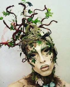 via on Closer look at my Featuring lovely glit glit by Lenses in mobius by & lots of things I found in the woods shared by Drag Makeup, Fx Makeup, Hair Makeup, Headdress, Headpiece, Dryad Costume, Mother Nature Costume, Club Kids, Costume Makeup