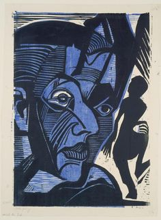 "amare-habeo: "" Ernst Ludwig Kirchner (German, 1880–1938) Self-Portrait (Melancholy of mountains) (Selbstbildnis (Melancholie der Berge)), 1929 Woodcut """