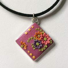 Shimmering Pink Floral Polymer Applique Clay Pendant £5.99