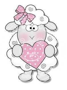Digital Digi Stamp Love Ewe - Sheep. Birthday, Valentines, Mothers Day, Love