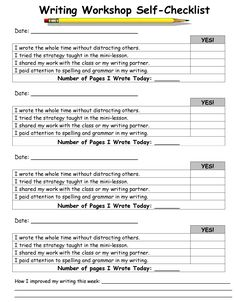 Writers workshop self assessment