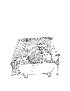 Bath Time - Ink Drawing ([Book Preview] 2012) by Zoe Phillips