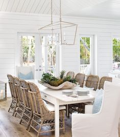 beach cottage ideas Beach Dining Room Ideas: Swoon over the latest coastal dining room decor! From colorful to understaed sohistication, you'll find beachy. Beach Dining Room, Cottage Dining Rooms, Family Dining Rooms, Coastal Living Rooms, Dining Room Lighting, Dining Room Design, Cottage Living, Coastal Cottage, Coastal Style