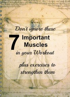 Are you ignoring these 7 important muscles in your workout? They help to stabilize and prevent injury, so they are important to address. Including exercises to work these 7 important muscles.