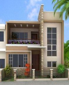 fachadas 7m frente 3D House Wall Design, Modern House Design, Front Elevation Designs, House Elevation, 2bhk House Plan, Living Room Bookcase, 2 Storey House, Three Bedroom House, House Map