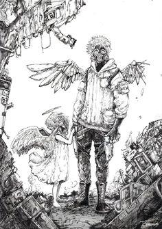 Anime Drawings Sketches, Anime Sketch, Cool Drawings, Fantasy Character Design, Character Drawing, Manga Art, Anime Art, Cyberpunk Art, Image Manga